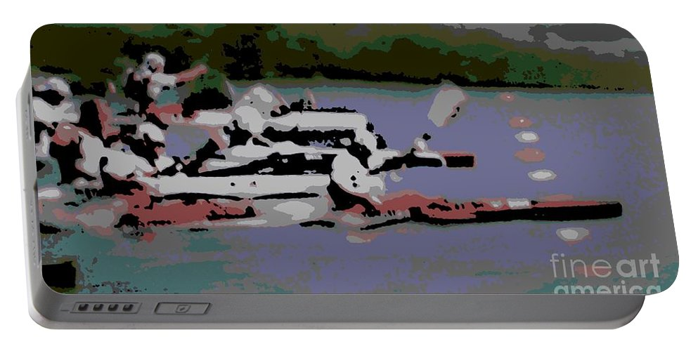 Lightweight Portable Battery Charger featuring the photograph Olympic Lightweight Double Sculls by George Pedro