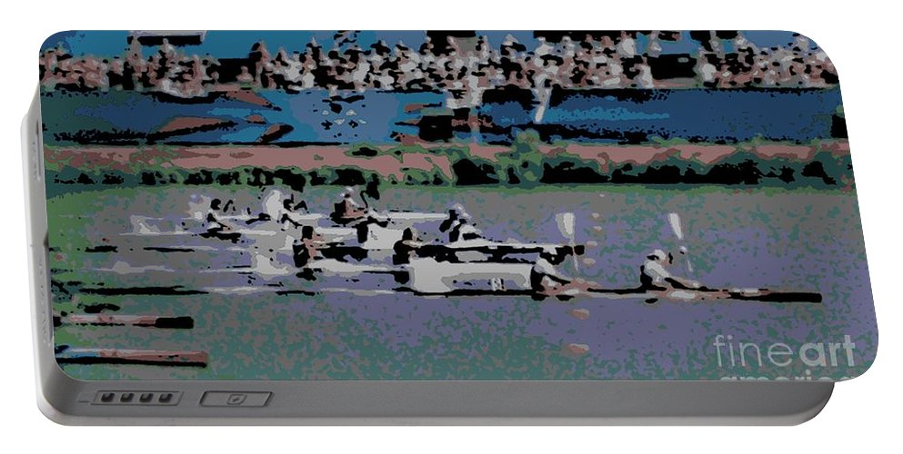 Lightweight Portable Battery Charger featuring the photograph Olympic Rowing by George Pedro