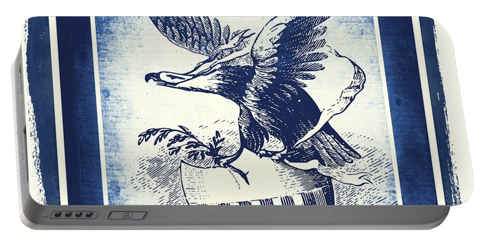 Usa Portable Battery Charger featuring the mixed media On Eagles Wings Blue by Angelina Vick