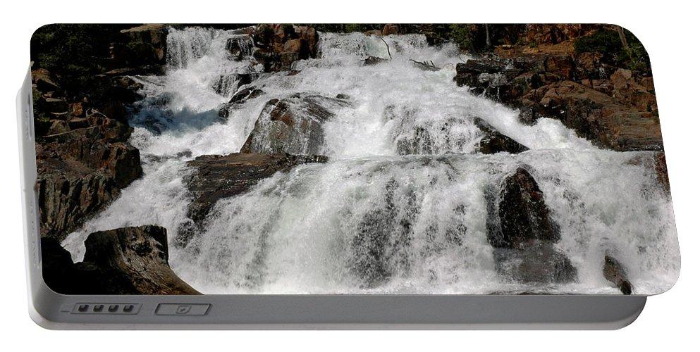 Usa Portable Battery Charger featuring the photograph On The Rocks Glen Alpine Falls by LeeAnn McLaneGoetz McLaneGoetzStudioLLCcom