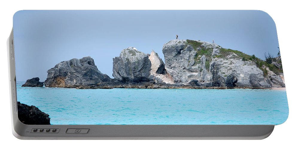 Rocks Portable Battery Charger featuring the digital art On The Rocks by Richard Ortolano