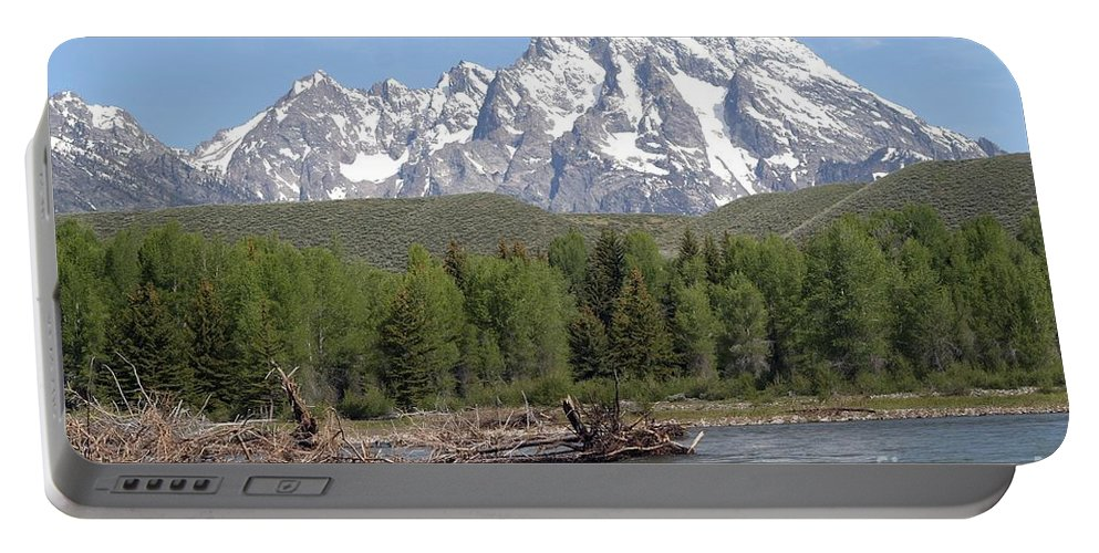 Grand Tetons Portable Battery Charger featuring the photograph On The Snake River by Living Color Photography Lorraine Lynch