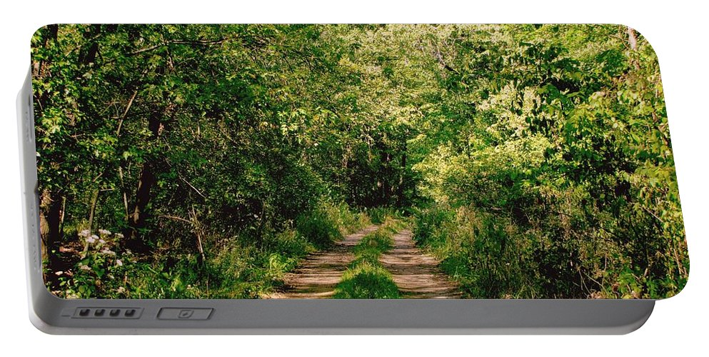 Country Road Portable Battery Charger featuring the photograph One Lonely Path by Marilyn Smith
