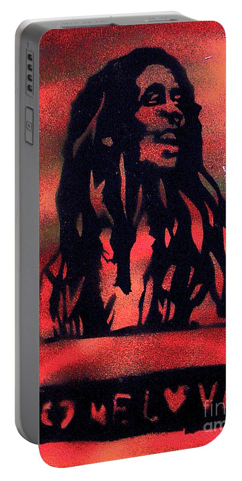 Hip Hop Portable Battery Charger featuring the painting One Marley by Tony B Conscious