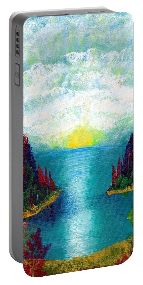 Landscapes Portable Battery Charger featuring the painting One More Sunset by LeeAnn McLaneGoetz McLaneGoetzStudioLLCcom