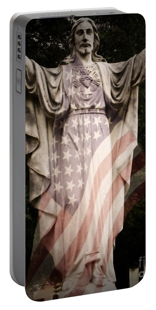 Statue Portable Battery Charger featuring the photograph One Nation Under God by Charleen Treasures