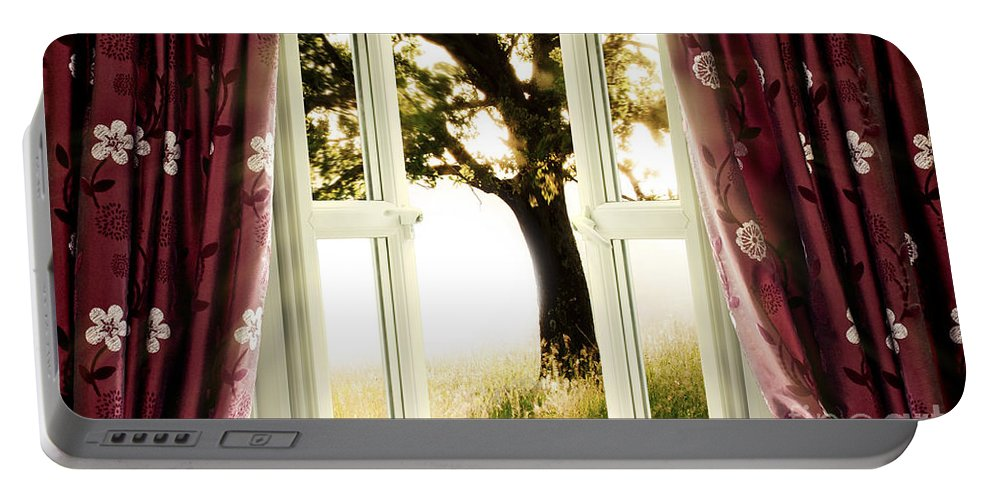 Window Portable Battery Charger featuring the photograph Open Window To Tree by Simon Bratt Photography LRPS