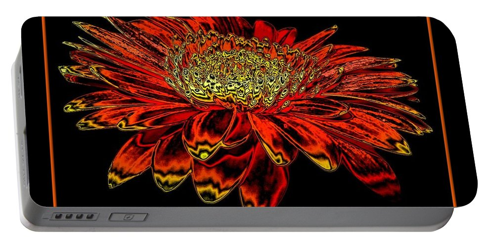 Orange Gerbera Daisy Portable Battery Charger featuring the photograph Orange Gerbera Daisy With Chrome Effect by Rose Santuci-Sofranko