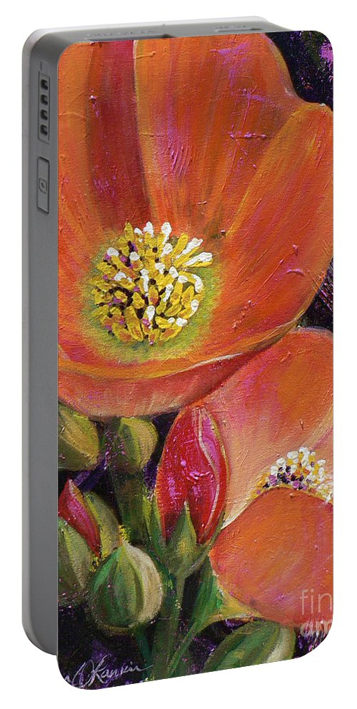 Orange Portable Battery Charger featuring the painting Orange Globe Mallows by Catalina Rankin