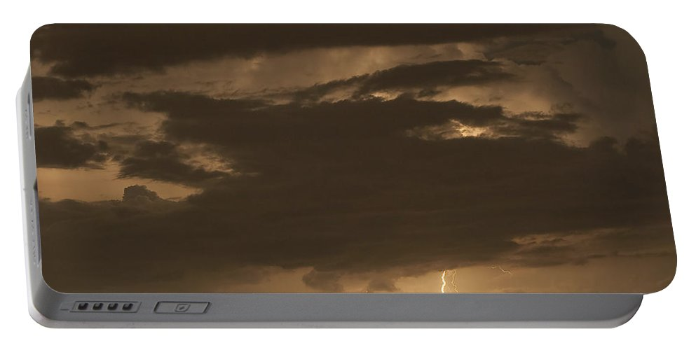 Lightning Portable Battery Charger featuring the photograph Orange Lightning by Stephen Whalen