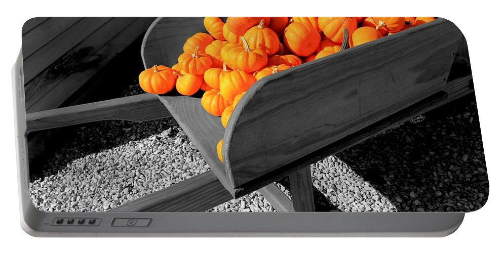 Pumpkin Portable Battery Charger featuring the photograph Orange Pumpkin Harvest by Betty Northcutt