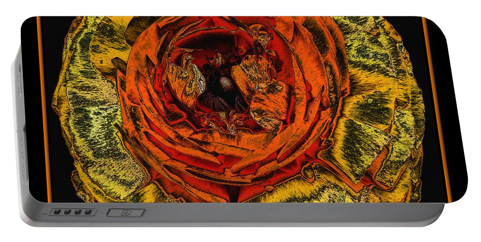 Orange Ranunculus Portable Battery Charger featuring the photograph Orange Ranunculus With A Chrome Effect by Rose Santuci-Sofranko