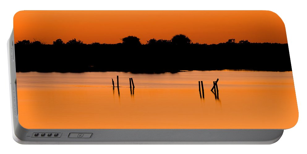 Sunset Portable Battery Charger featuring the photograph Orange Sunset Florida by Rich Franco