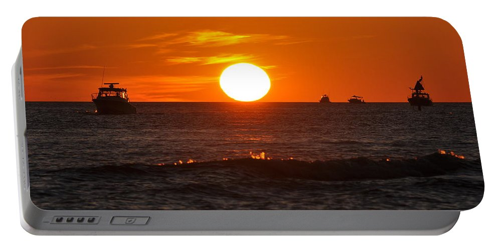 Sunset Portable Battery Charger featuring the photograph Orange Sunset I by Christine Stonebridge
