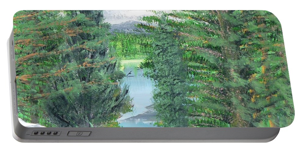 Mt. Hood Portable Battery Charger featuring the painting Oregon Reverie by Alys Caviness-Gober