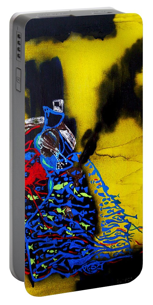 Jesus Portable Battery Charger featuring the painting Our Lady Star Of The Sea by Gloria Ssali