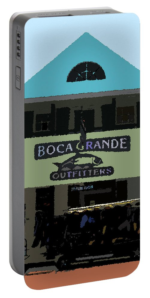 Art Portable Battery Charger featuring the painting Outfitters Boca Grande Style by David Lee Thompson
