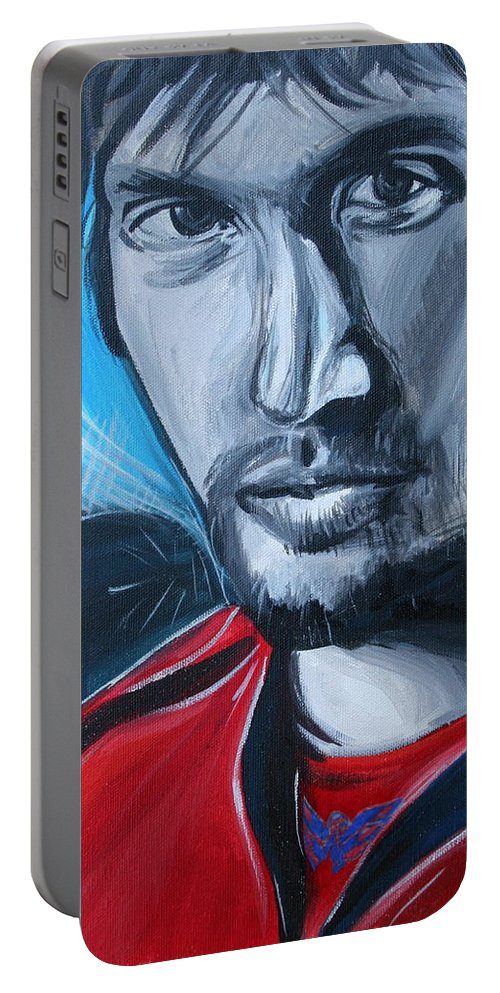 Alex Ovechkin Portable Battery Charger featuring the painting Ovechkin by Kate Fortin
