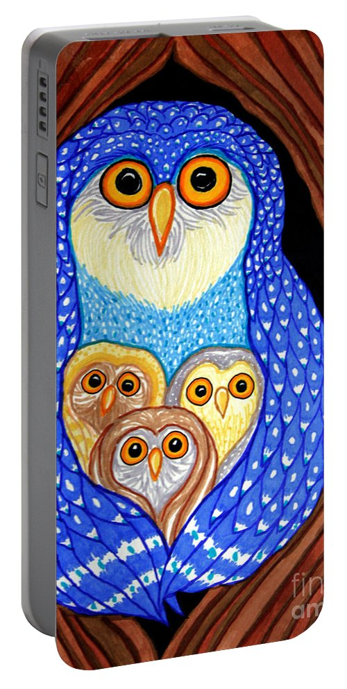 Owl Portable Battery Charger featuring the drawing Owl And Owlettes by Nick Gustafson