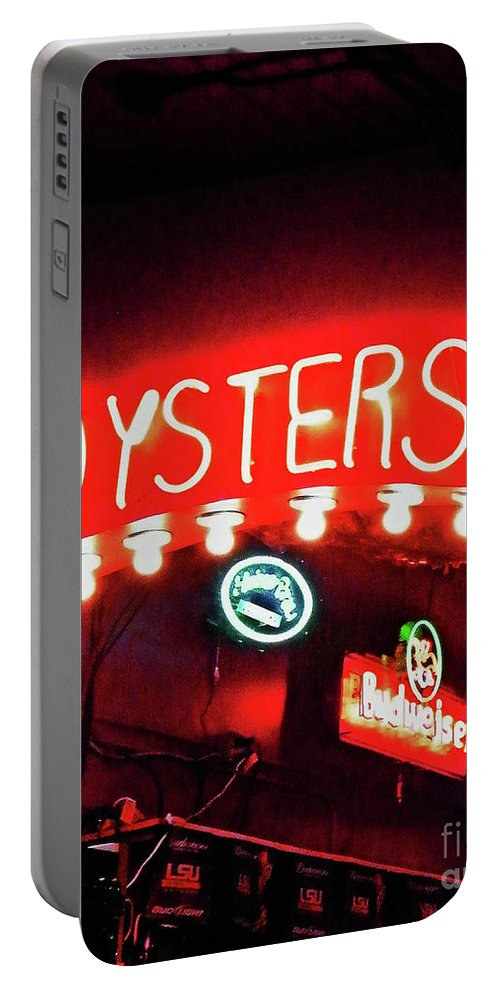 Neon Portable Battery Charger featuring the photograph Oysters by Lizi Beard-Ward
