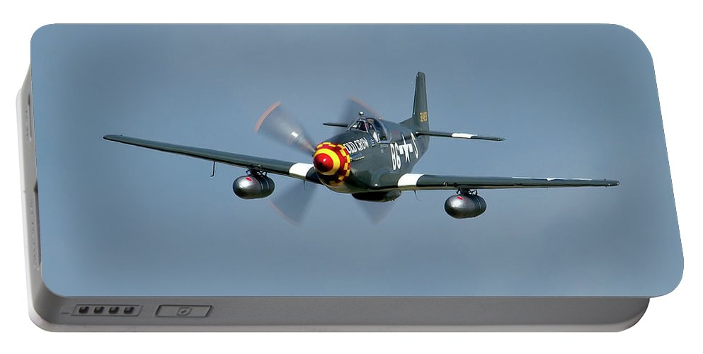 Airshows Portable Battery Charger featuring the photograph P-51 Mustang by Bill Lindsay