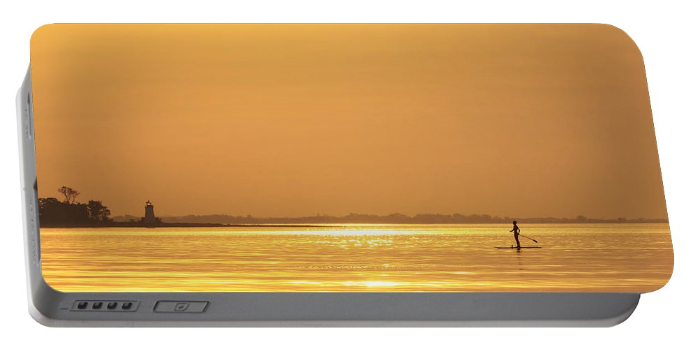 Paddleboard Portable Battery Charger featuring the photograph Paddle Boarder At Dawn by Stephanie McDowell