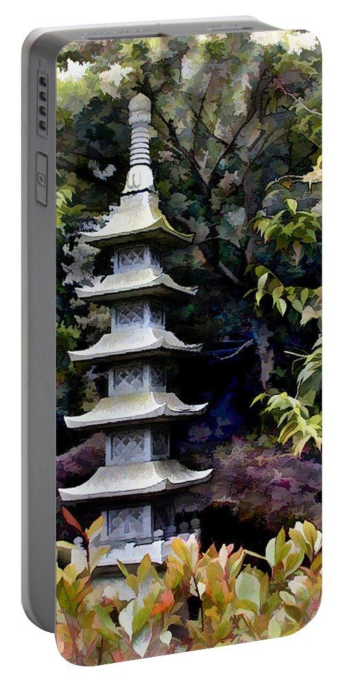 Japanese Garden Portable Battery Charger featuring the painting Pagoda Tower Of Zen by Elaine Plesser