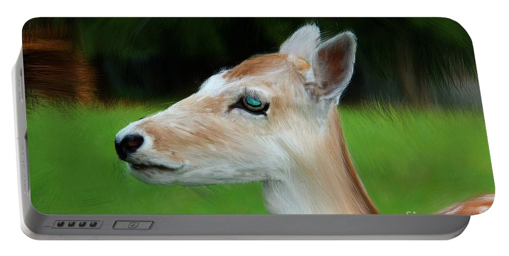 Painted Deer Portable Battery Charger featuring the digital art Painted Deer by Mariola Bitner