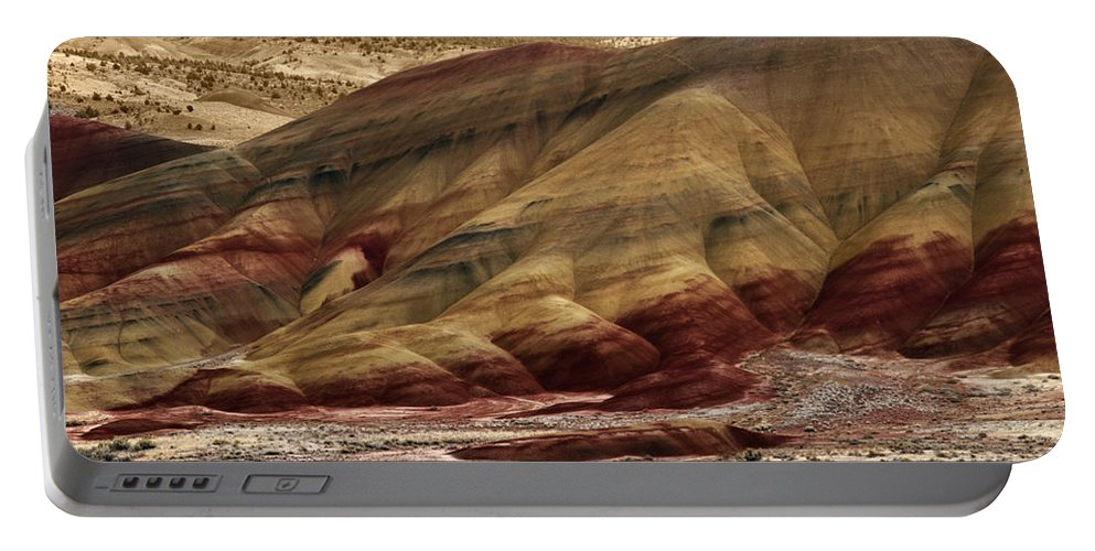 Painted Hills Grooves Portable Battery Charger featuring the photograph Painted Hills Grooves by Wes and Dotty Weber