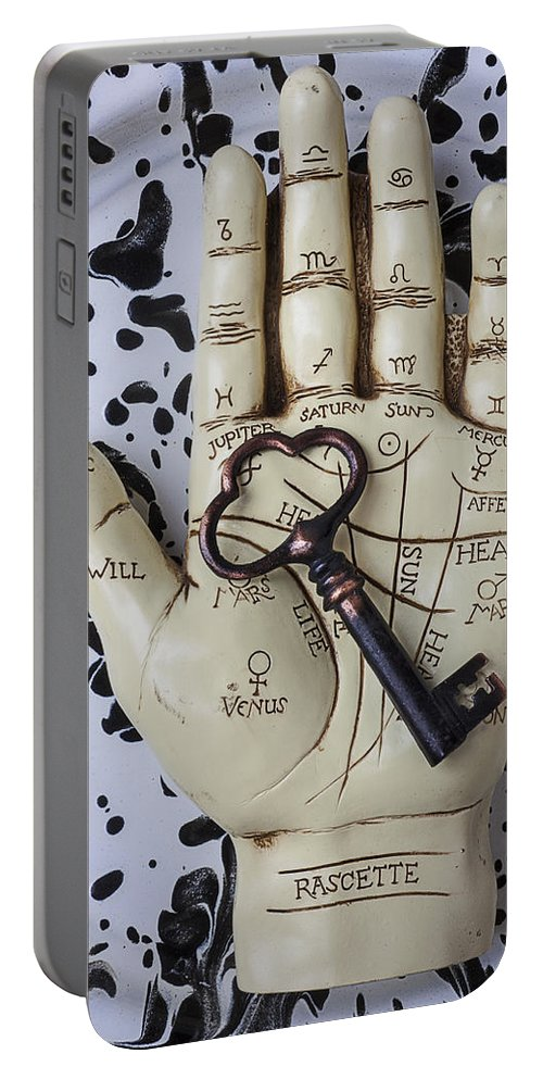 Palm Reader Hand Portable Battery Charger featuring the photograph Palm Reading Hand And Key by Garry Gay