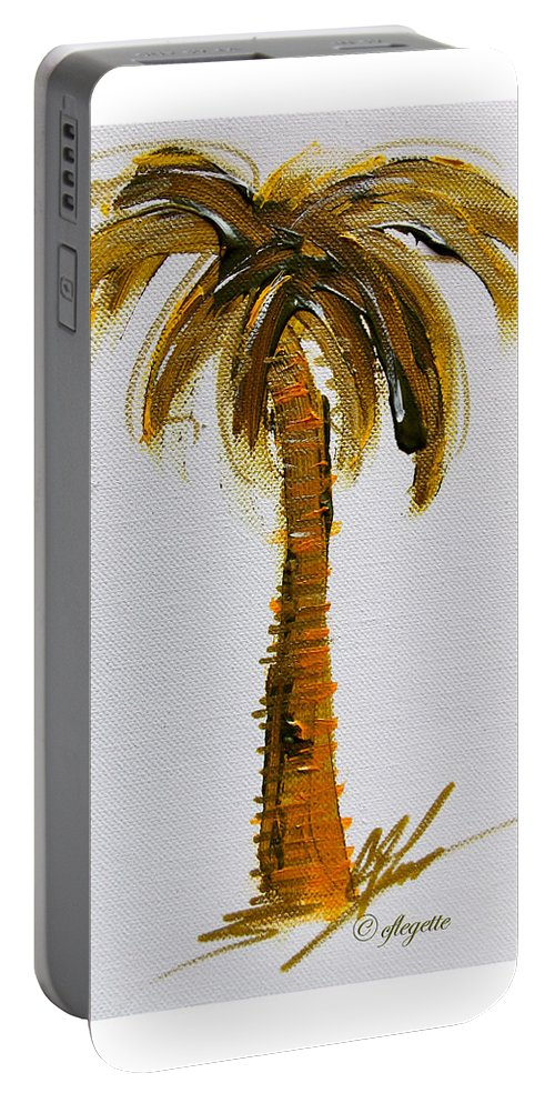 Palm Portable Battery Charger featuring the painting South Carolina Palm Tree by C F Legette