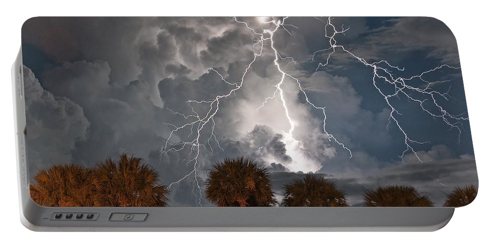 Lightning Portable Battery Charger featuring the photograph Palms And Lightning by Stephen Whalen