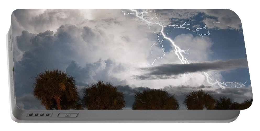 Lightning Portable Battery Charger featuring the photograph Palms And Lightning 3 by Stephen Whalen