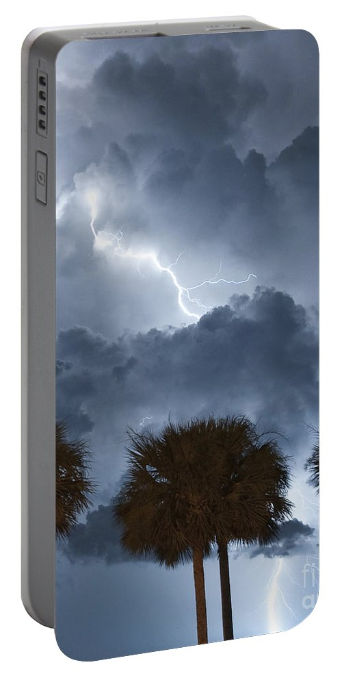 Lightning Portable Battery Charger featuring the photograph Palms And Lightning 5 by Stephen Whalen