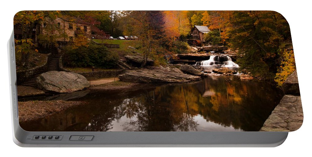 Unique Portable Battery Charger featuring the photograph Panorama Glade Creek Mill by Randall Branham