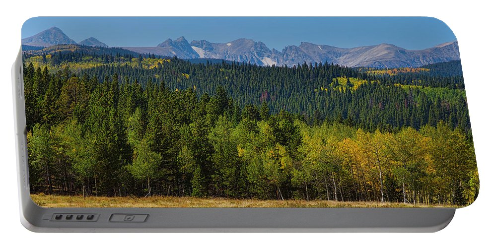Colorado Portable Battery Charger featuring the photograph Panorama Scenic Autumn View Of The Colorado Indian Peaks by James BO Insogna