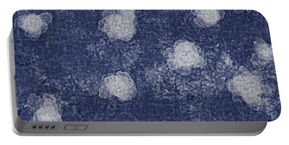 Abstract Portable Battery Charger featuring the digital art Paper Flowers Abstract - White by Debbie Portwood