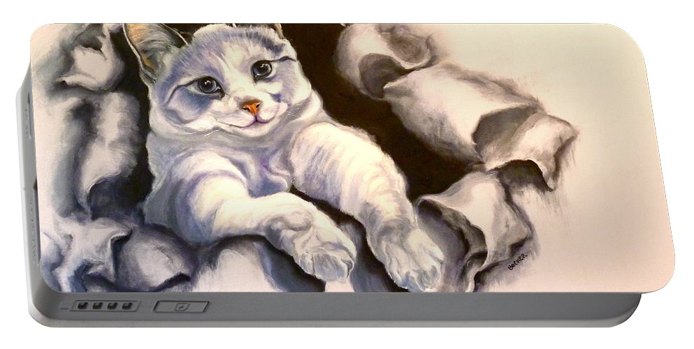 Cat Portable Battery Charger featuring the painting Paper Tiger by Susan A Becker