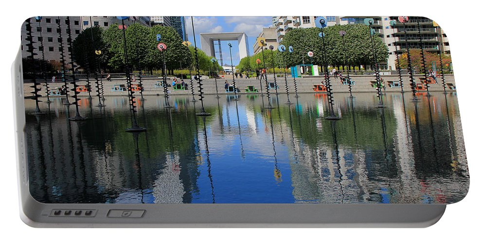 Paris Portable Battery Charger featuring the photograph Paris La Defense 3 by Andrew Fare