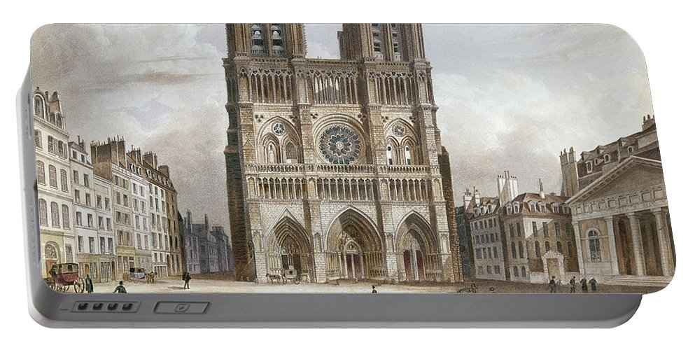 1820s Portable Battery Charger featuring the photograph Paris: Notre Dame, C1820s by Granger