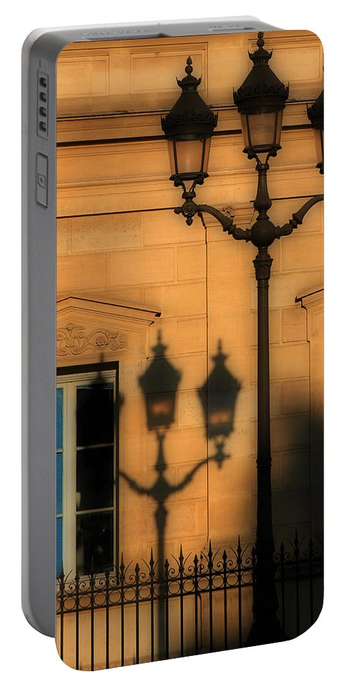 Paris Portable Battery Charger featuring the photograph Paris Shadows by Andrew Fare