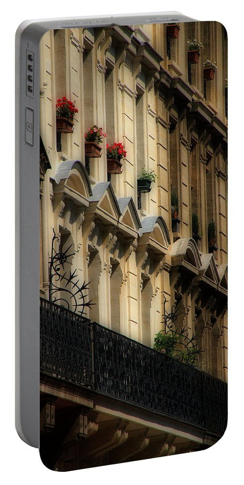Paris Portable Battery Charger featuring the photograph Paris Windows by Andrew Fare