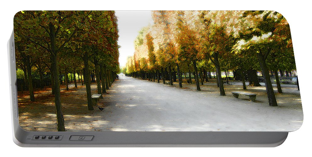Paris Portable Battery Charger featuring the photograph Parisian Park Walkway by Mike Nellums