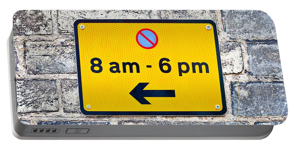 Arrow Portable Battery Charger featuring the photograph Parking Sign by Tom Gowanlock