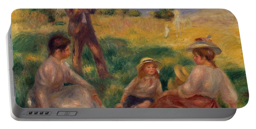 Impressionist; Impressionism; Rural; Countryside; French; Haute-normandie; Normandy; Seated; Leisure; Children; Family Portable Battery Charger featuring the painting Party In The Country At Berneval by Pierre Auguste Renoir