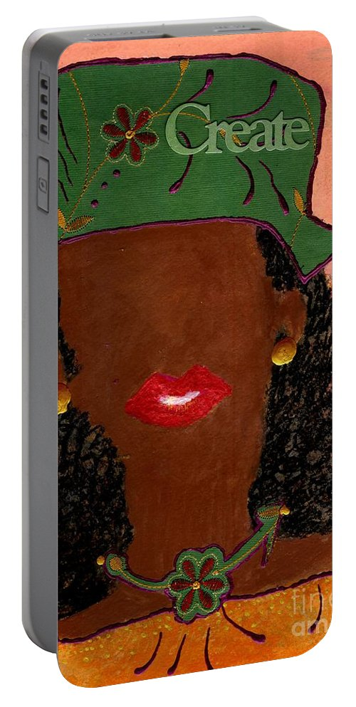 Woman Portable Battery Charger featuring the mixed media Passionate And Creative by Angela L Walker