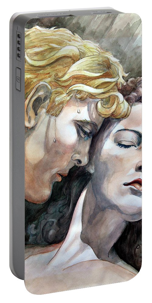 Watercolor Painting By Otto Werner Portable Battery Charger featuring the painting Passionate Embrace by Hanne Lore Koehler
