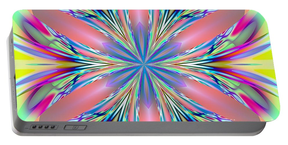 Pastel Portable Battery Charger featuring the digital art Pastel Pink Kaleidoscope by Maria Urso