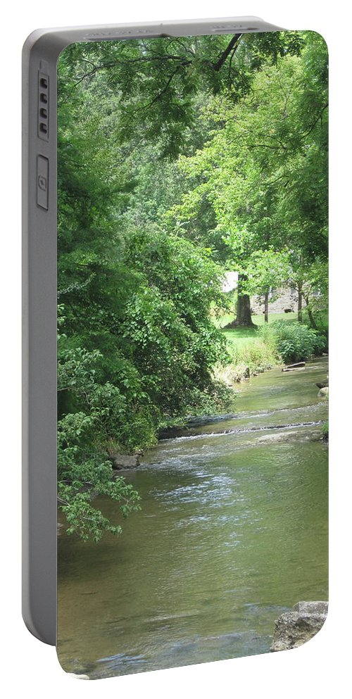 Stream Portable Battery Charger featuring the photograph Peaceful Mountain Stream by Megan Cohen