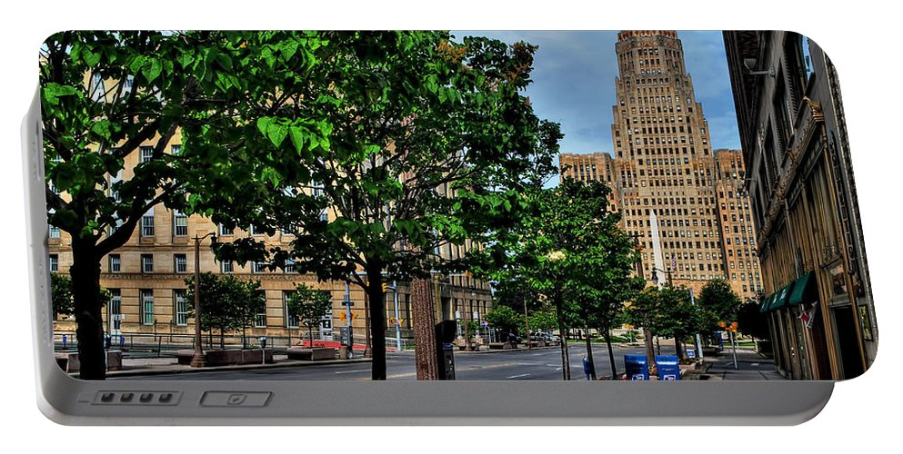 Portable Battery Charger featuring the photograph Pedestrian View Of City Hall Horizontal by Michael Frank Jr